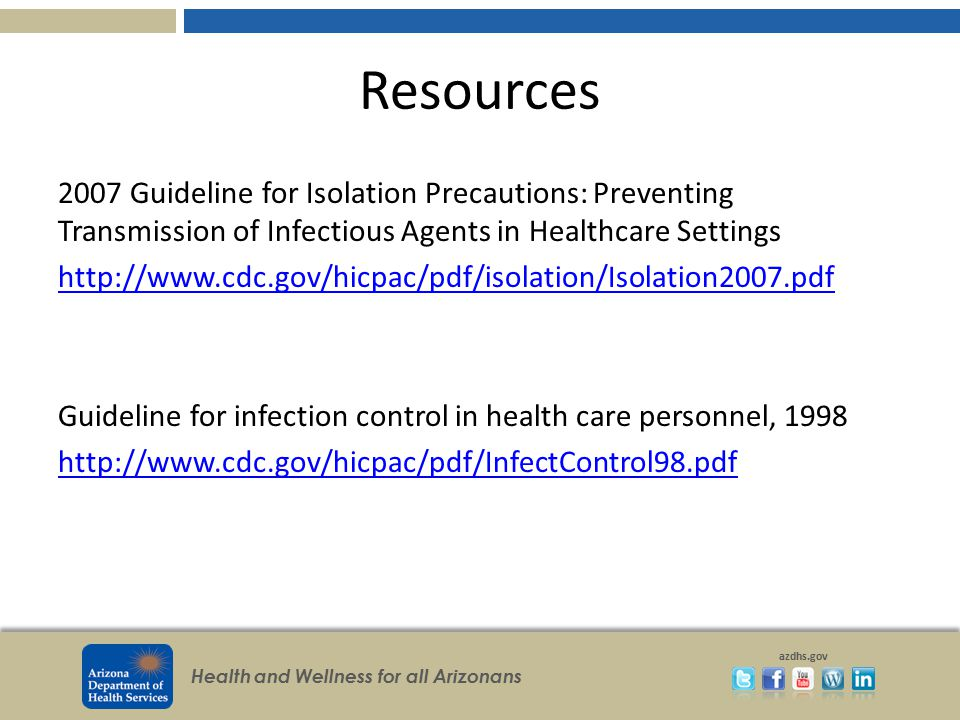 Resources 2007 Guideline for Isolation Precautions: Preventing Transmission of Infectious Agents in Healthcare Settings.
