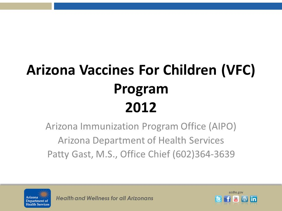 Arizona Vaccines For Children (VFC) Program 2012
