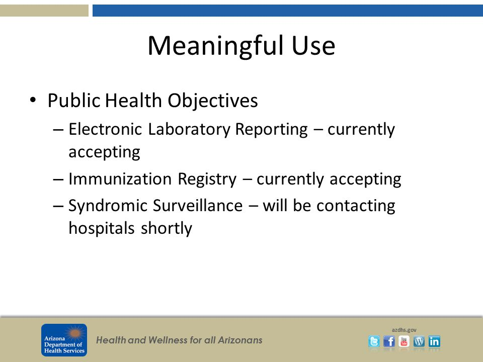 Meaningful Use Public Health Objectives