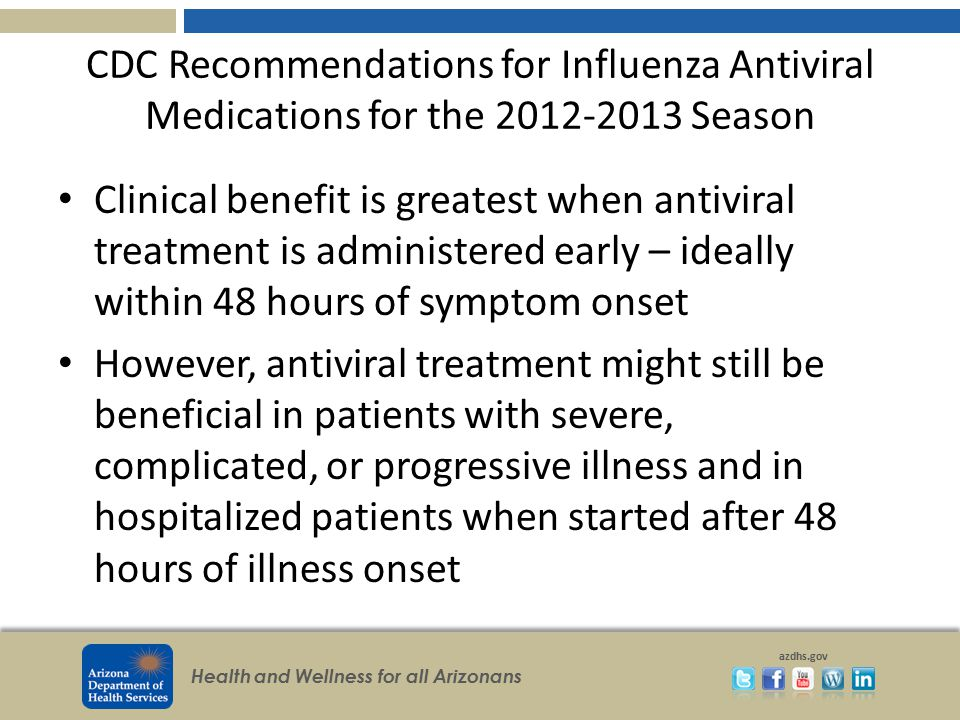 CDC Recommendations for Influenza Antiviral Medications for the 2012-2013 Season