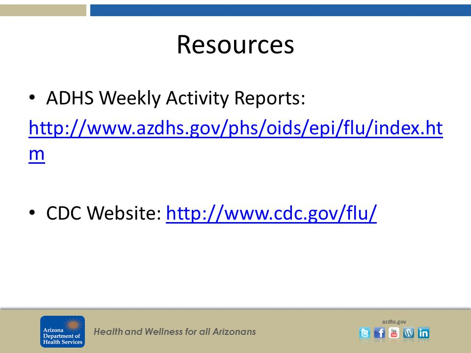 Resources ADHS Weekly Activity Reports: