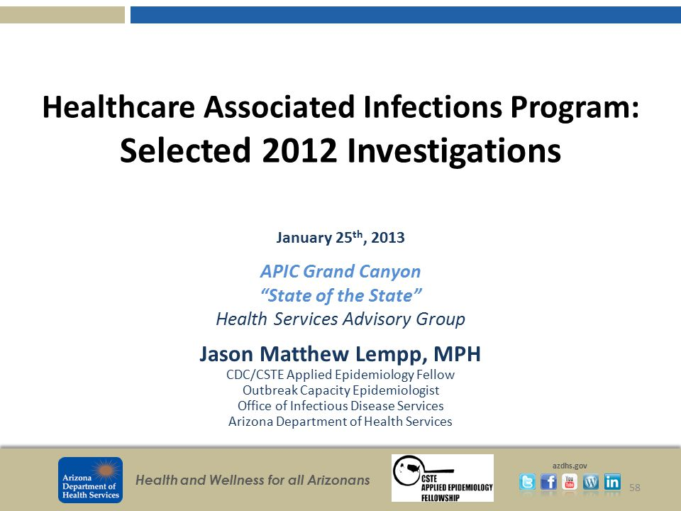 Healthcare Associated Infections Program: Selected 2012 Investigations