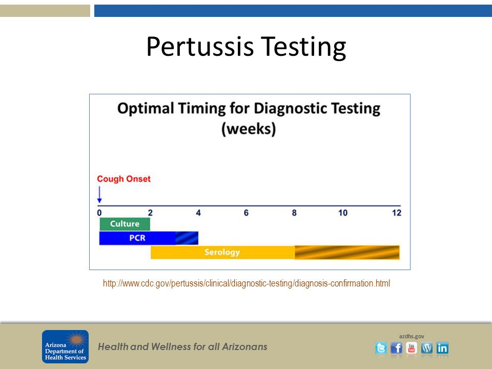 Pertussis Testing http://www.cdc.gov/pertussis/clinical/diagnostic-testing/diagnosis-confirmation.html.