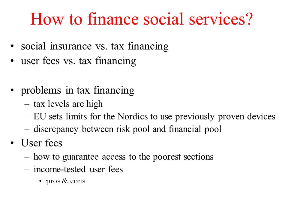 How to finance social services