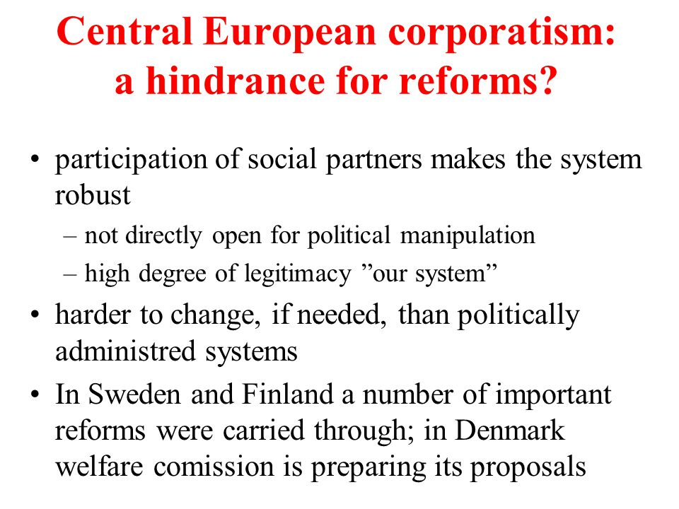 Central European corporatism: a hindrance for reforms