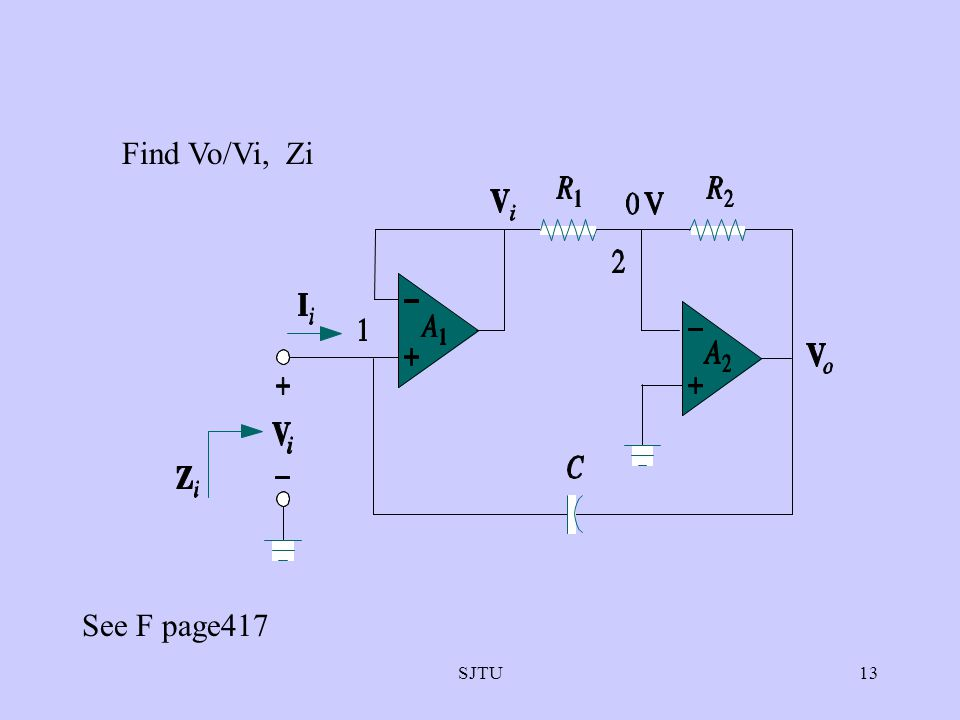 Find Vo/Vi, Zi See F page417 SJTU