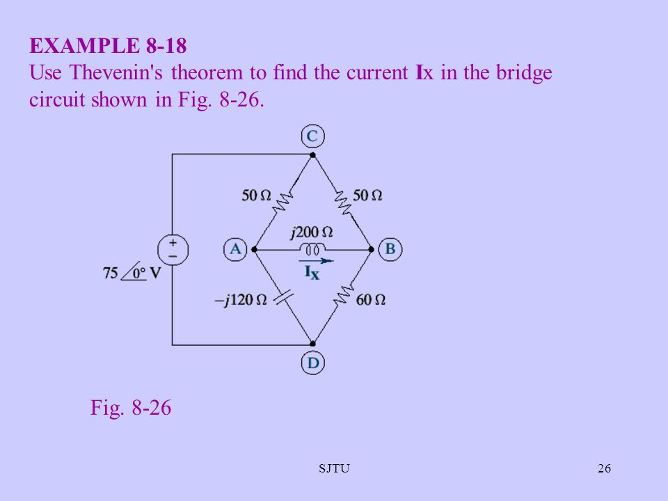 EXAMPLE 8-18 Use Thevenin s theorem to find the current Ix in the bridge circuit shown in Fig. 8-26.