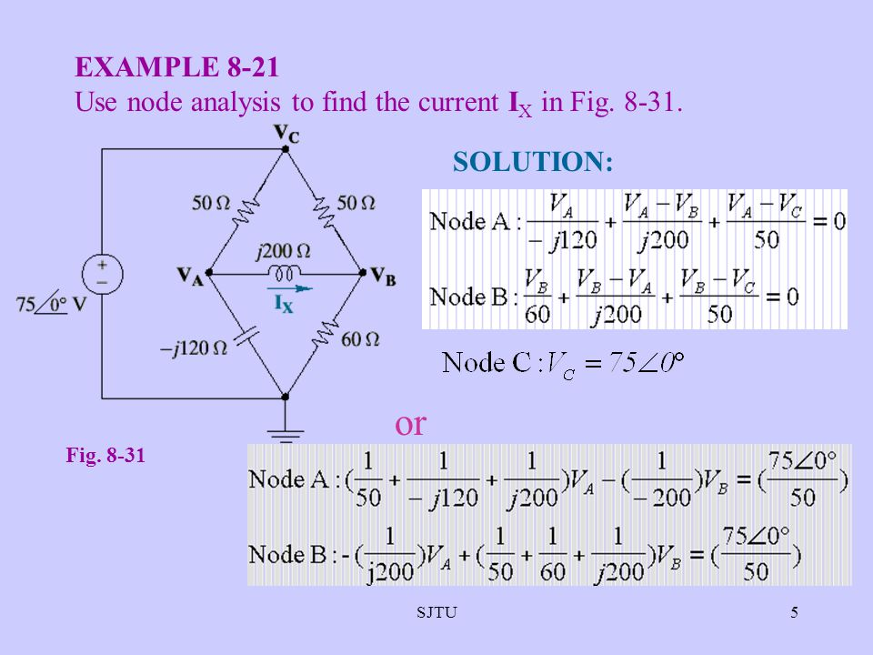 or EXAMPLE 8-21 Use node analysis to find the current IX in Fig. 8-31.