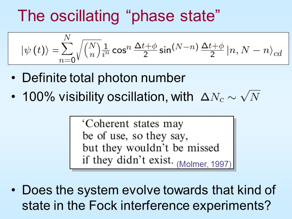 The oscillating phase state