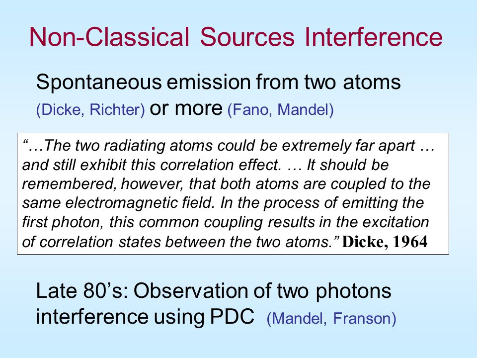 Non-Classical Sources Interference