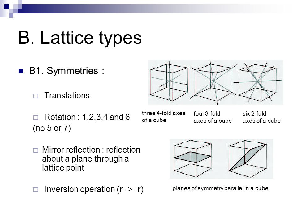 B. Lattice types B1. Symmetries : Translations