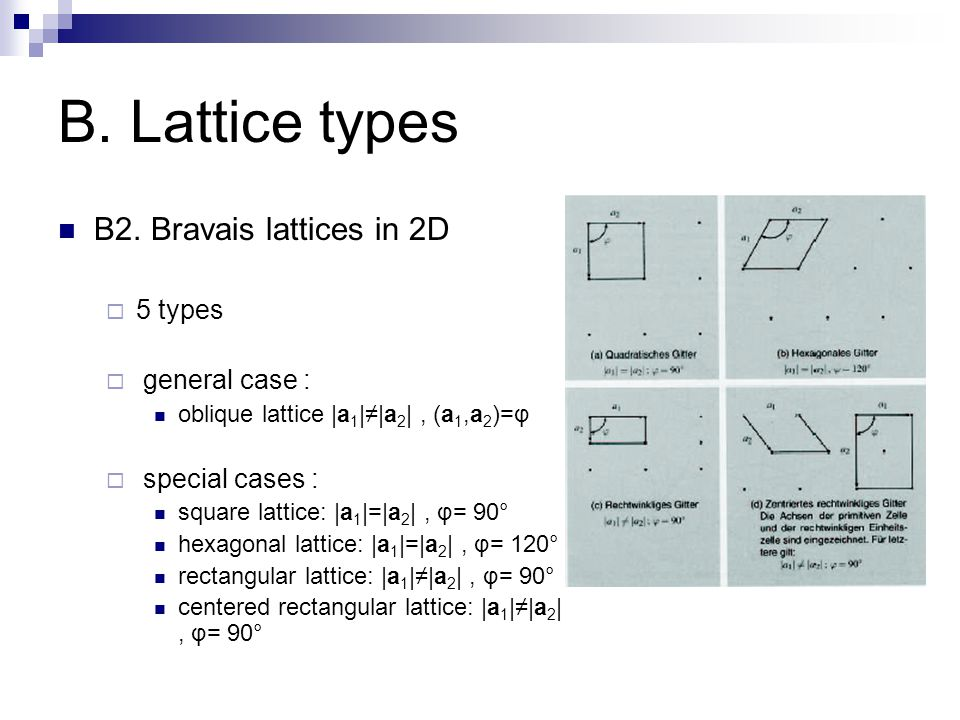 B. Lattice types B2. Bravais lattices in 2D 5 types general case :