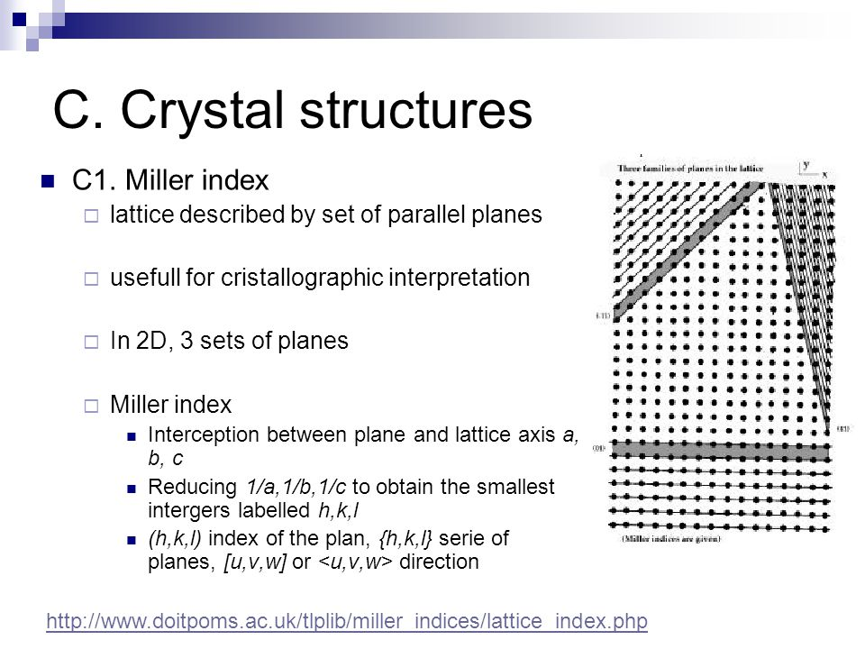 C. Crystal structures C1. Miller index