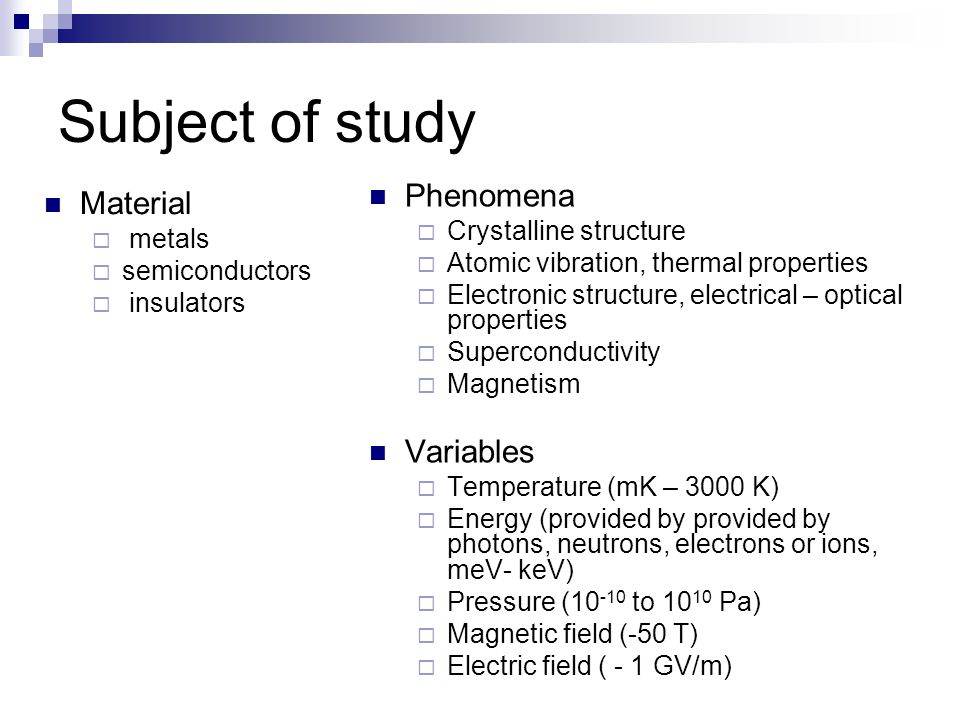 Subject of study Phenomena Material Variables Crystalline structure