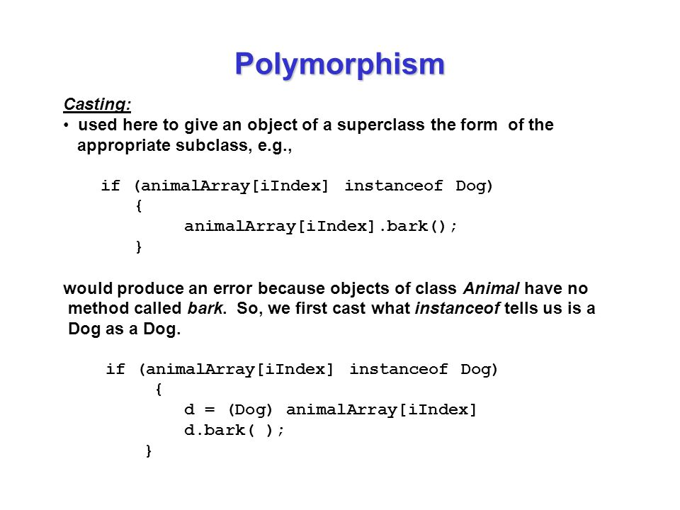 Polymorphism Casting: