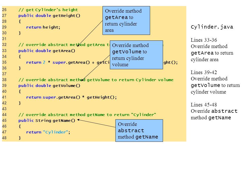 Override method getArea to return cylinder area