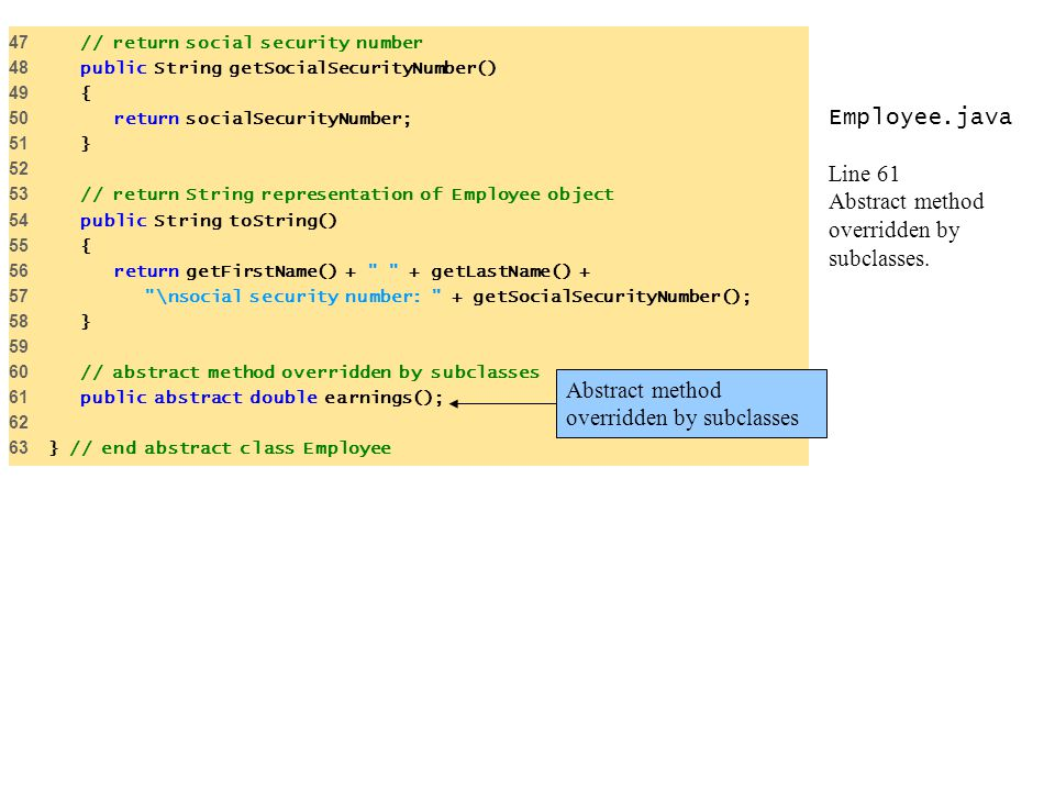 Employee.java Line 61 Abstract method overridden by subclasses.