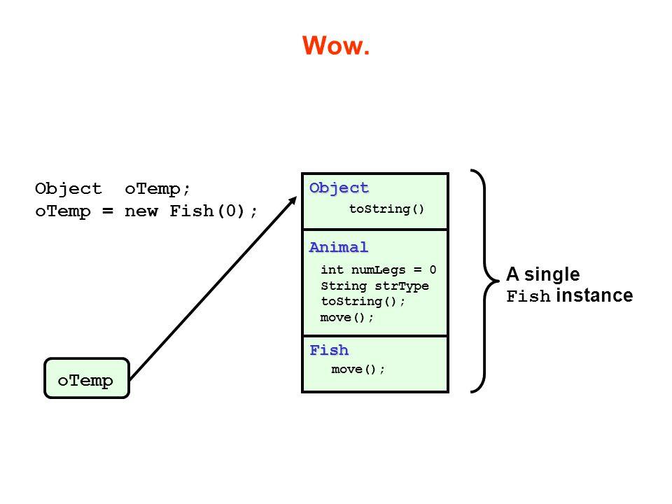 Wow. Object oTemp; oTemp = new Fish(0); A single Fish instance oTemp