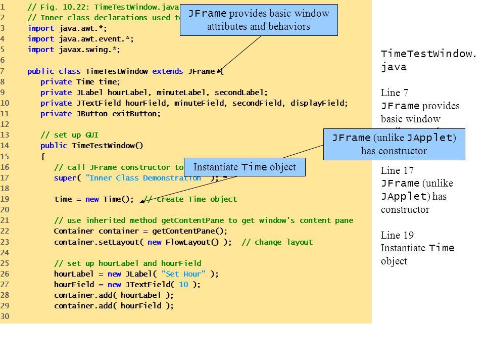 JFrame provides basic window attributes and behaviors