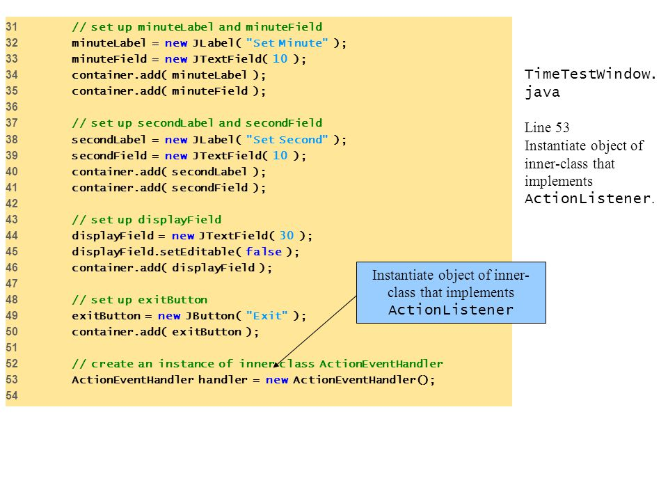 Instantiate object of inner-class that implements ActionListener