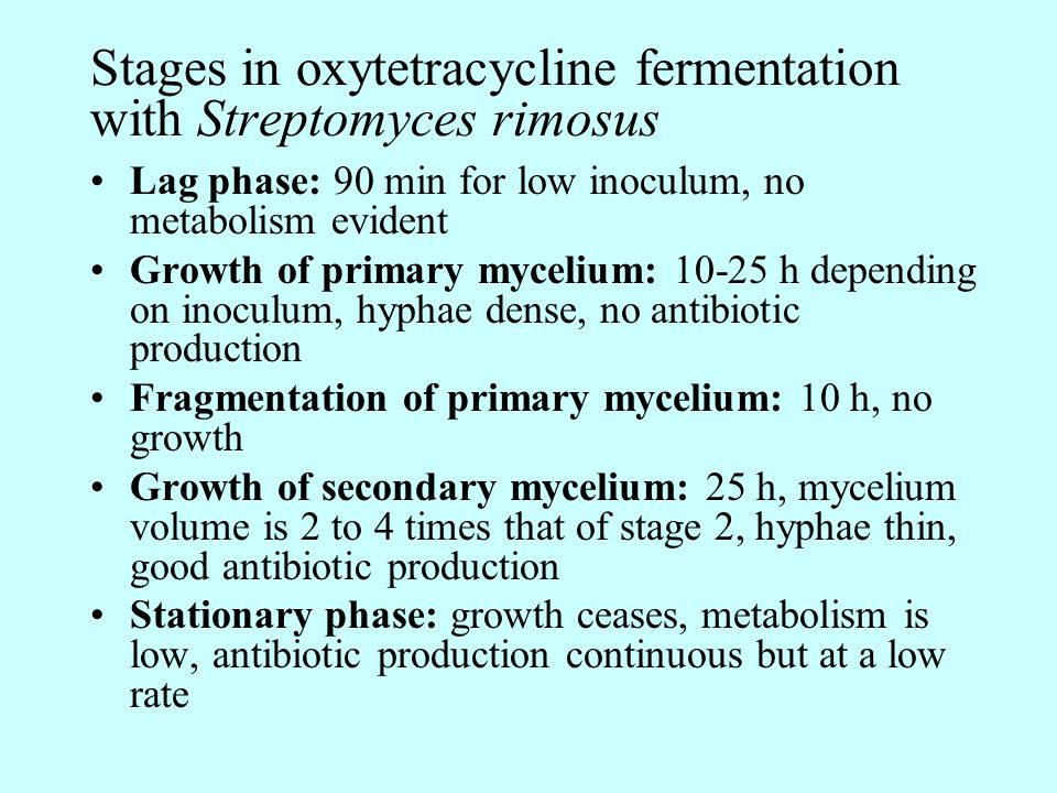 Stages in oxytetracycline fermentation with Streptomyces rimosus