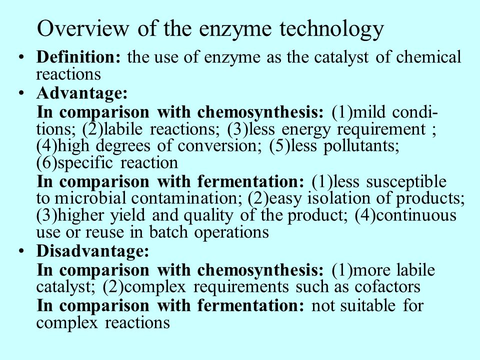 Overview of the enzyme technology