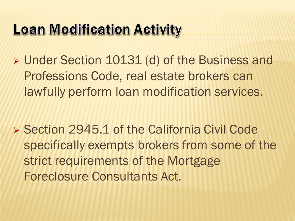 Loan Modification Activity