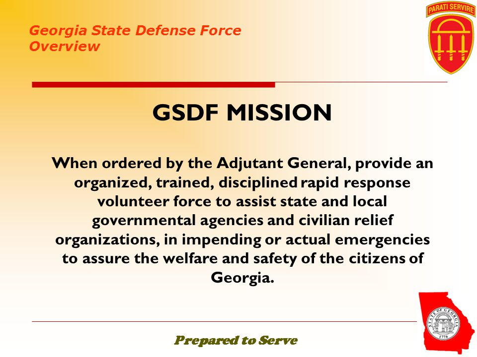 Georgia State Defense Force Overview