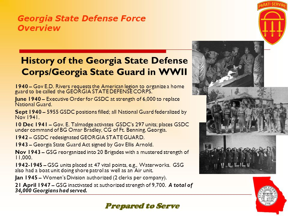 History of the Georgia State Defense Corps/Georgia State Guard in WWII