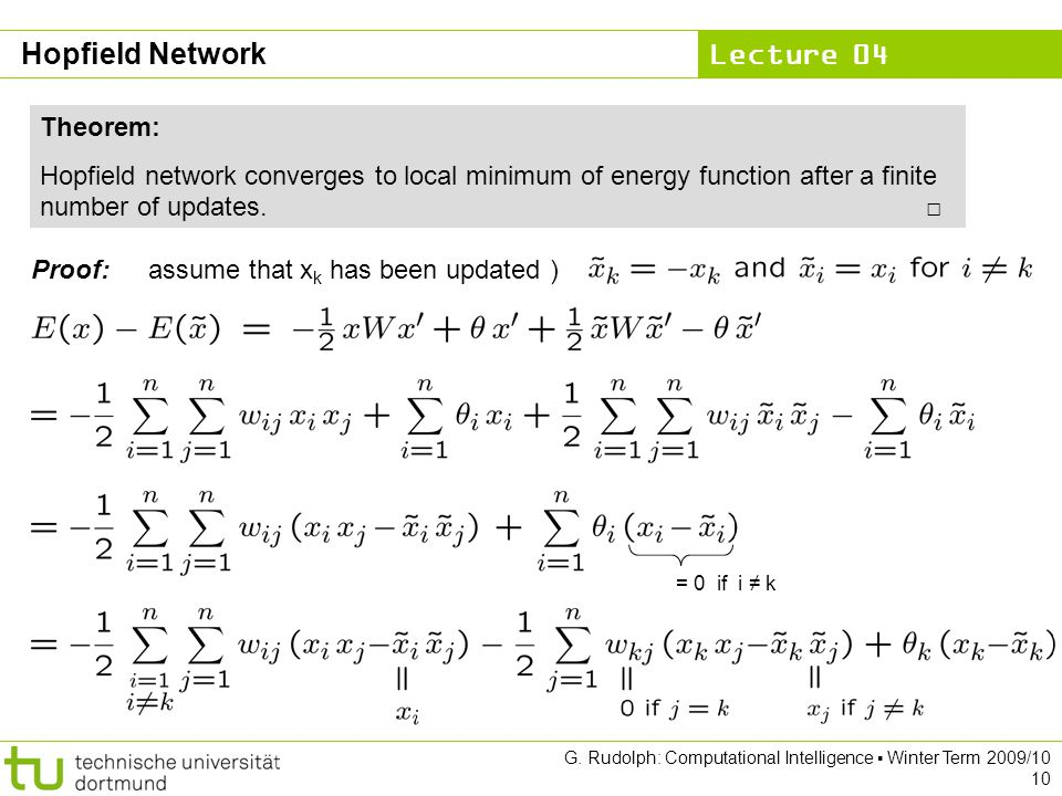 Hopfield Network Theorem:
