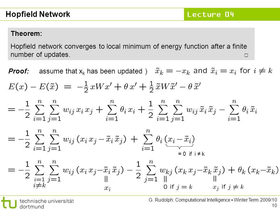 Hopfield Network Theorem:
