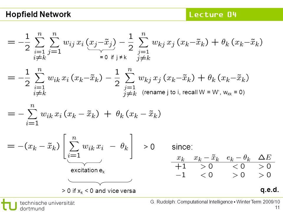 Hopfield Network > 0 since: q.e.d.