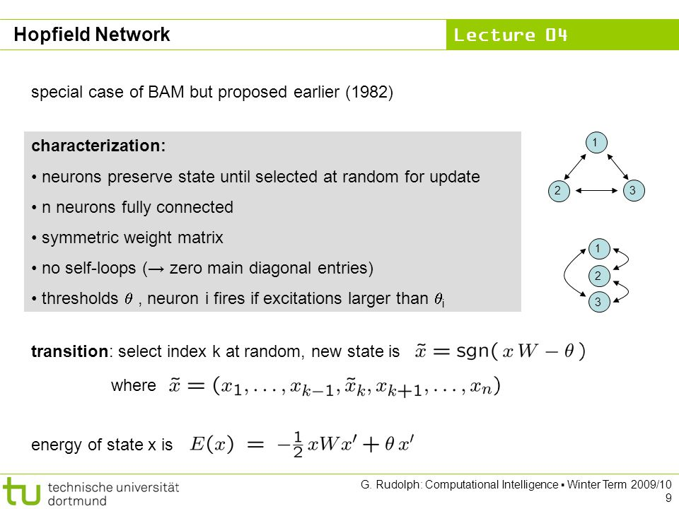 Hopfield Network special case of BAM but proposed earlier (1982)
