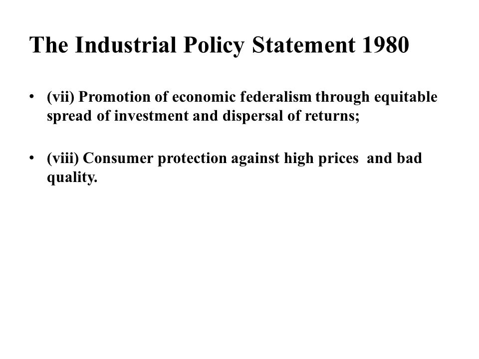 The Industrial Policy Statement 1980