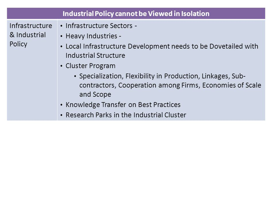 Industrial Policy cannot be Viewed in Isolation