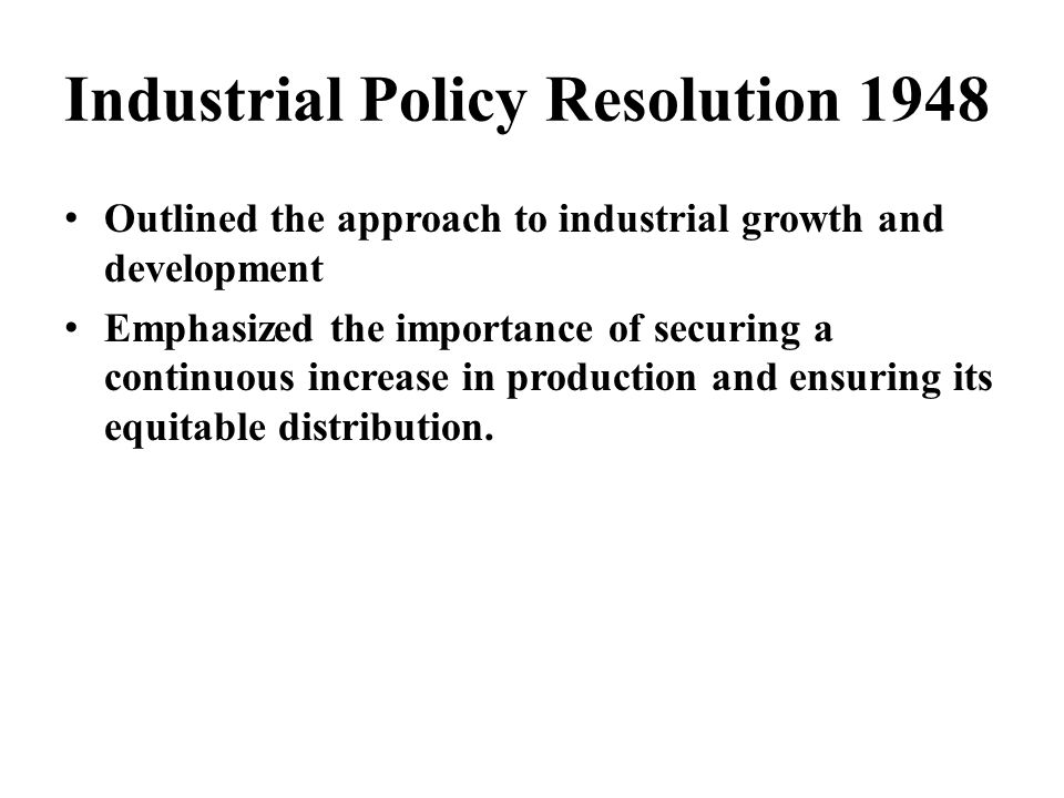 Industrial Policy Resolution 1948