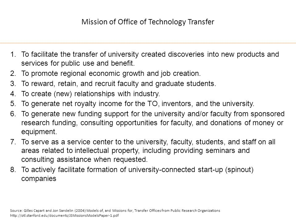 Mission of Office of Technology Transfer