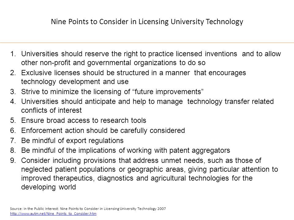 Nine Points to Consider in Licensing University Technology