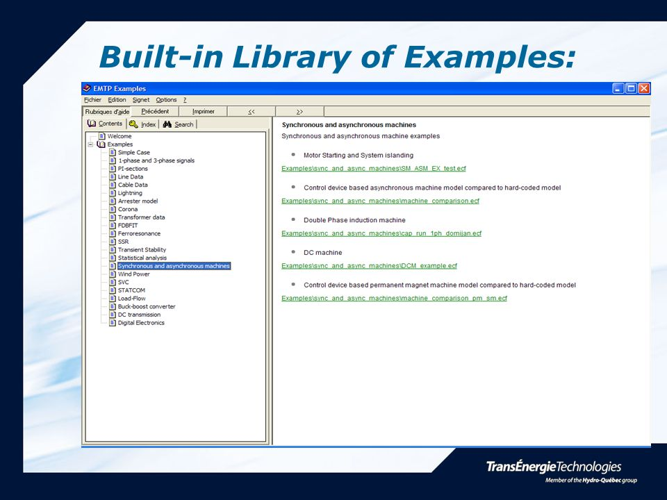 Built-in Library of Examples:
