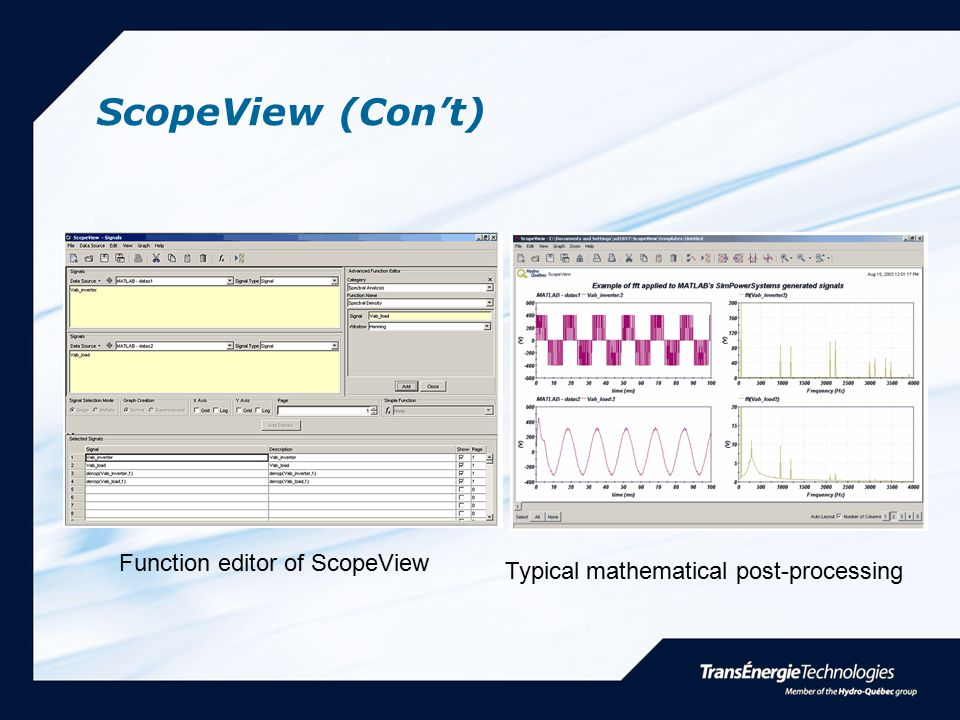 ScopeView (Con't) Function editor of ScopeView