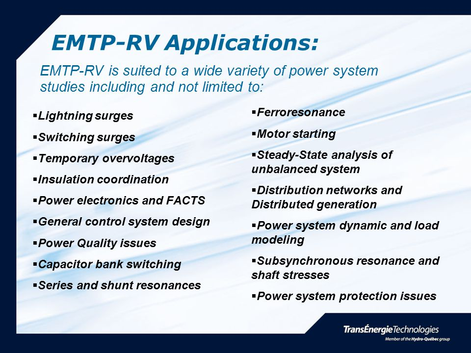 EMTP-RV Applications:
