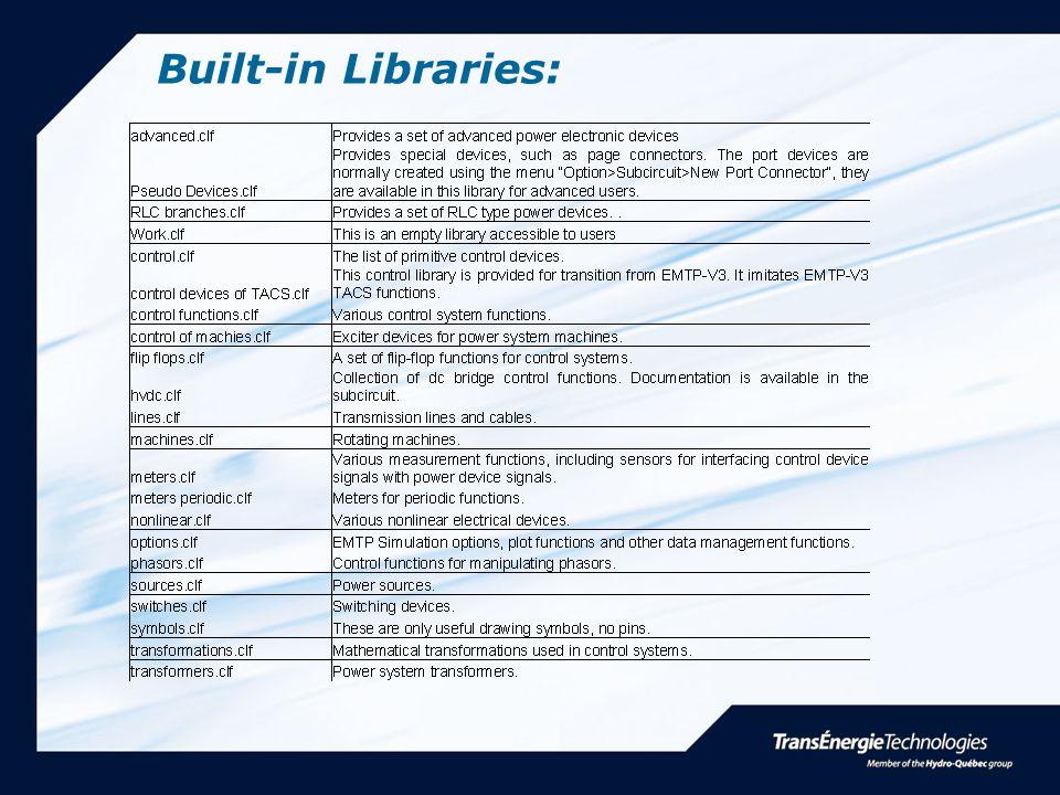 Built-in Libraries:
