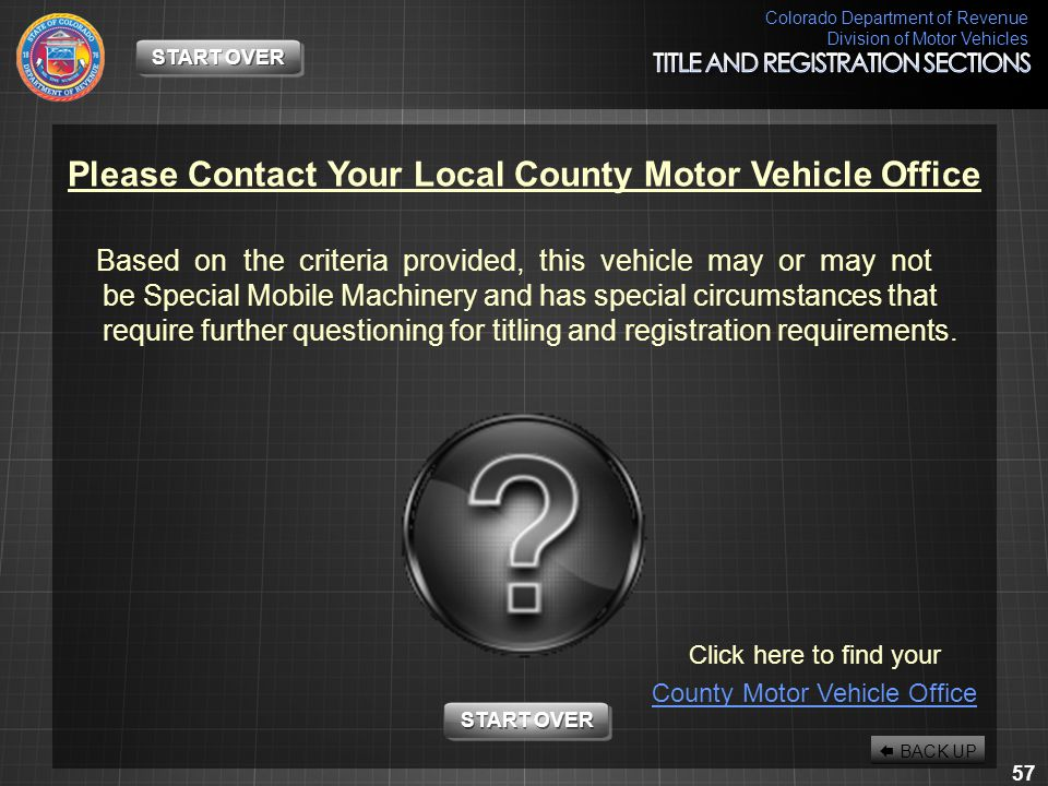 Please Contact Your Local County Motor Vehicle Office