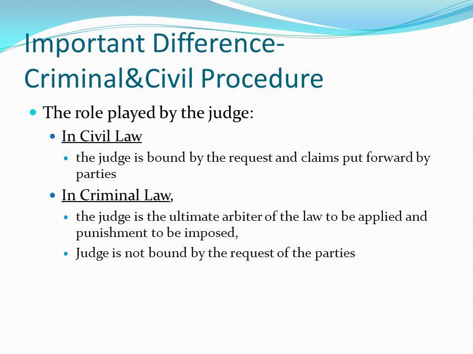 Important Difference-Criminal&Civil Procedure