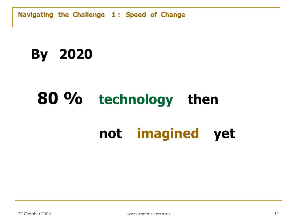 Navigating the Challenge 1 : Speed of Change