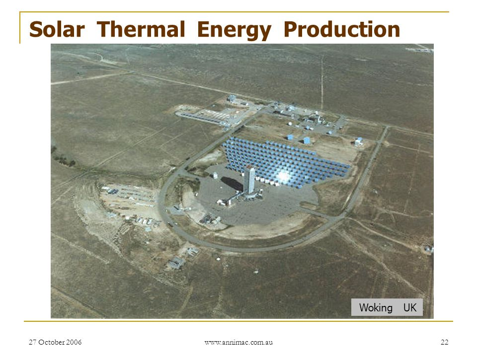 Solar Thermal Energy Production