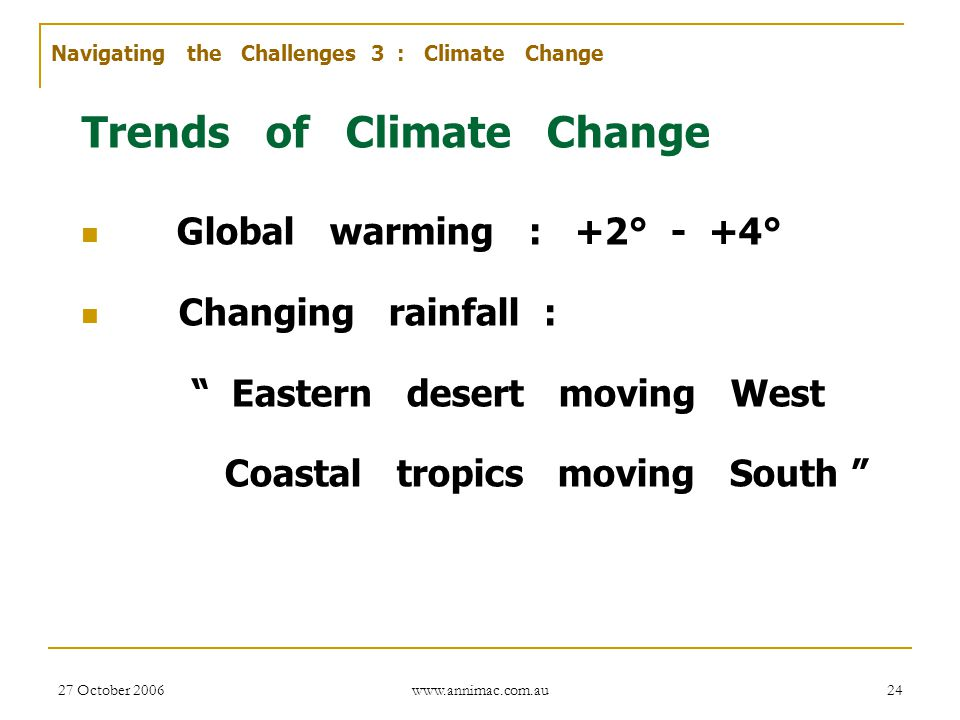 Trends of Climate Change