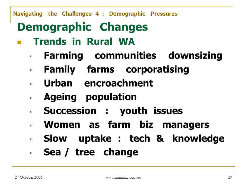 Demographic Changes Trends in Rural WA Farming communities downsizing