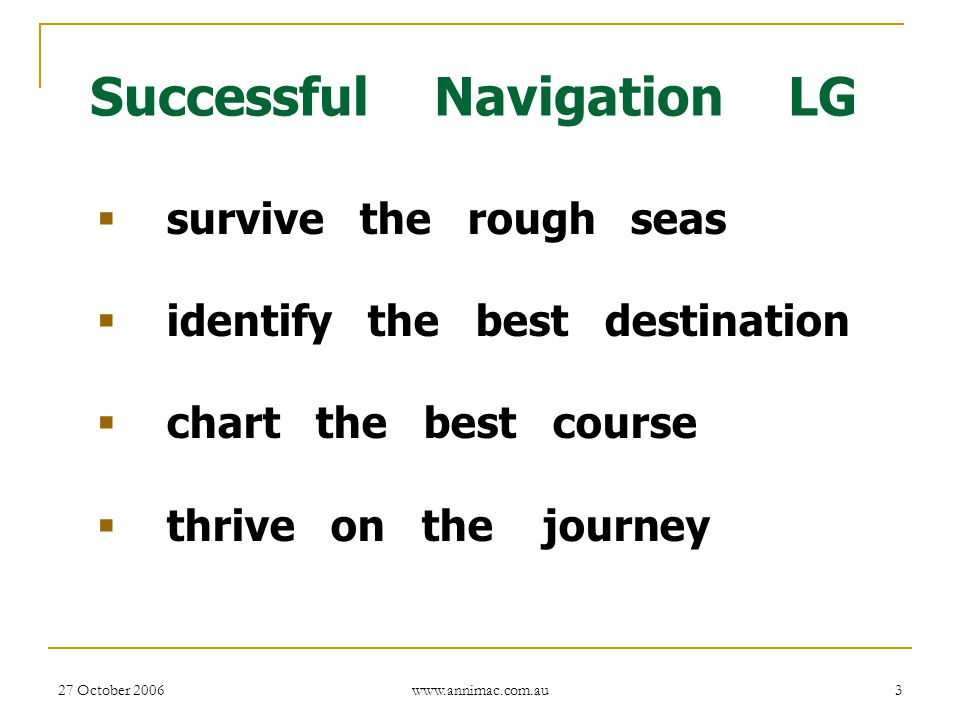 Successful Navigation LG