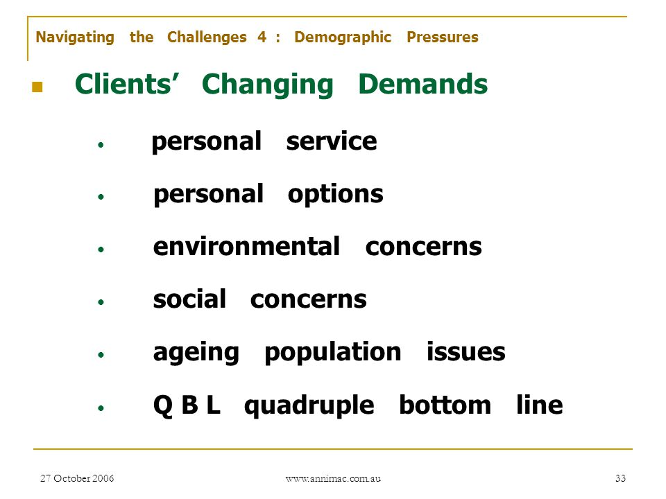 Clients' Changing Demands